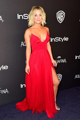 Kaley Cuoco is red hot and revealing at the Golden Globes After Party