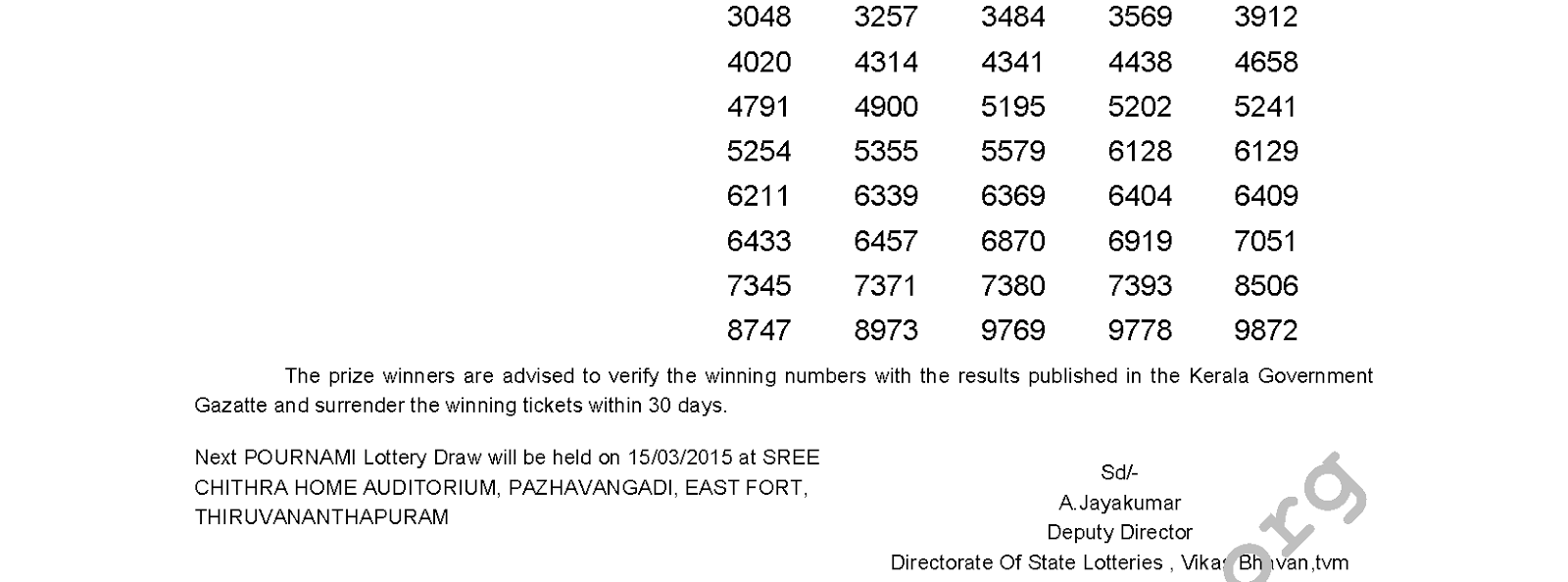 POURNAMI Lottery RN 175 Result 8-3-2015