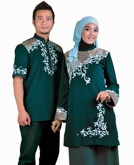 Gambar busana couple berpasangan hijau modern