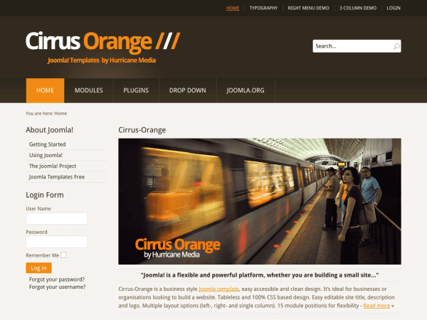 Cirrus-Orange Joomla Business Templates