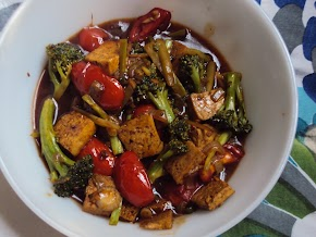 broccoli and tofu in a hot , sweet n sour sauce .....