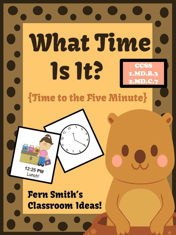 Fern Smith's What Time Is It Center Game - Time To the Five Minute for Groundhog Day