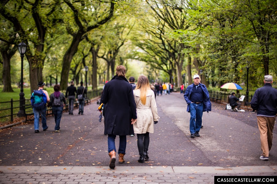 Romantic destination proposal at The Mall Bethesda Terrace Central Park Engagement - www.cassiecastellaw.com