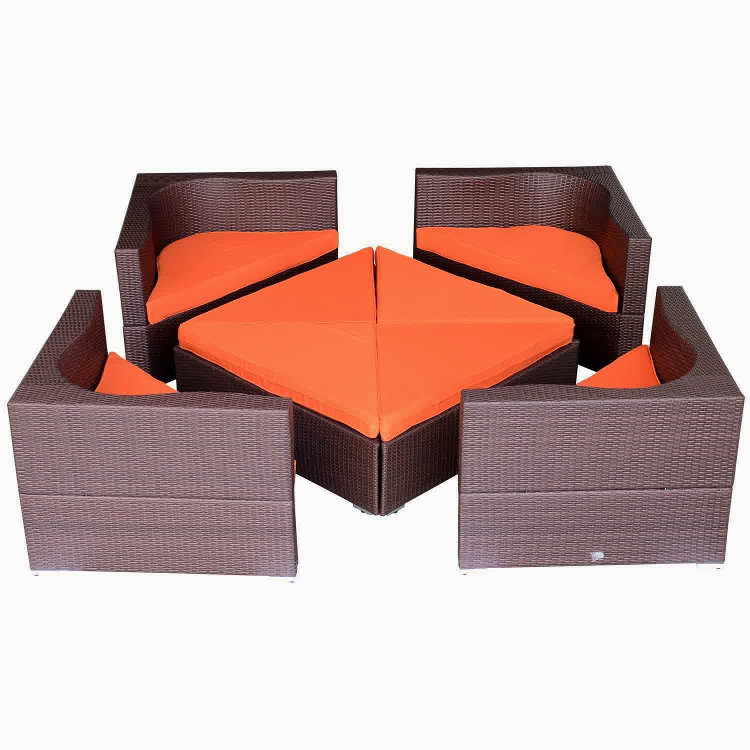 Outsunny Deluxe Outdoor Patio PE Rattan Wicker Sofa Sectional Furniture Set