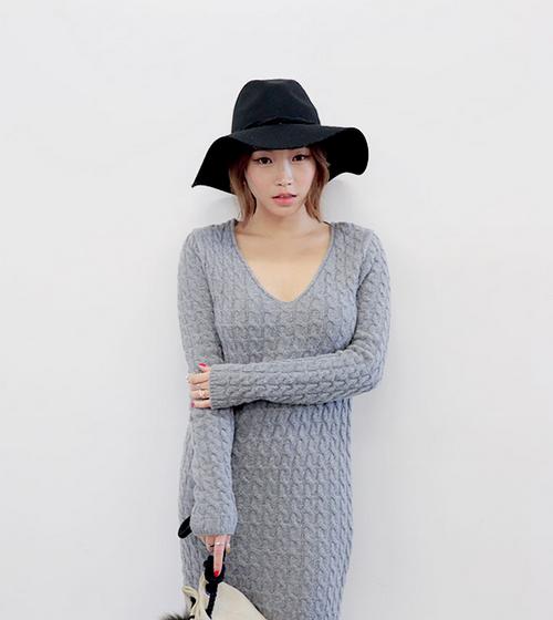Twist Knit Long Sleeve Knit Dress