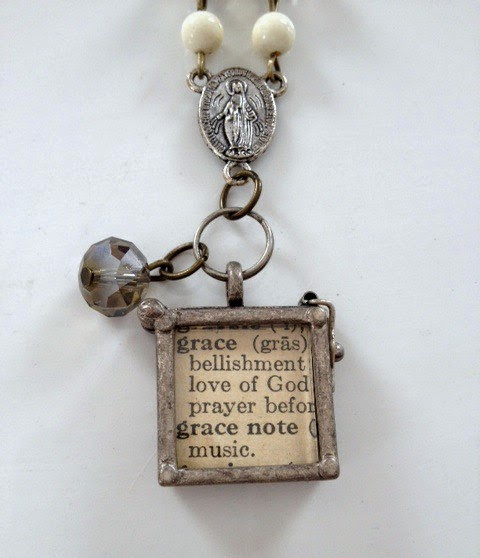 Vintage Dictionary & Pewter Pendant by Love You More Designs via http://www.prodigalpieces.com