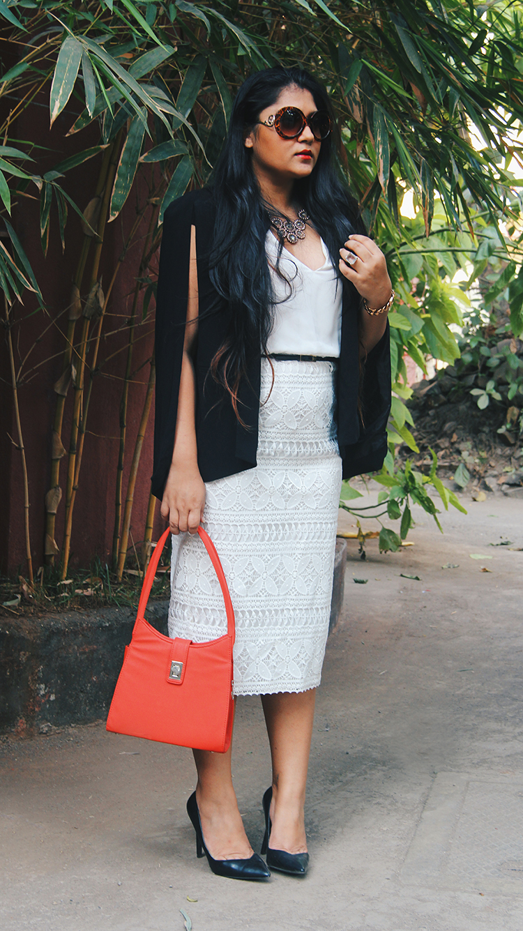 White lace dress from ZARA and Forever 21 cape blazer for the office