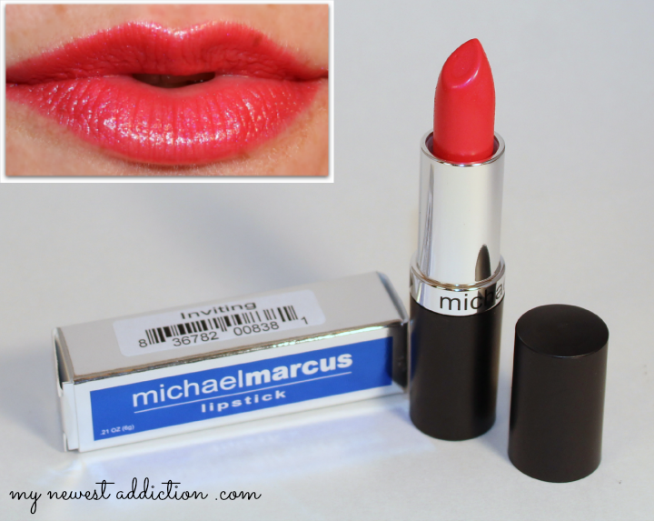 wantable january 2014 makeup subscription box lipstick lip swatch michael marcus inviting hot pink