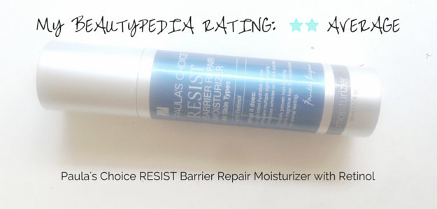 Paula's Choice Resist Barrier Repair Moisturizer with Retinol review; mediocre results. Mini-reviews on Skin Perfecting 2% BHA Gel Exfoliant,  Skin Perfecting 2% BHA Lotion Exfoliant, Skin Perfecting 8% AHA Gel Exfoliant. 폴라초이스 리지스트 베리어 리페어 모이스처라이저 위드 레티놀. CosmeticsCop.co.kr