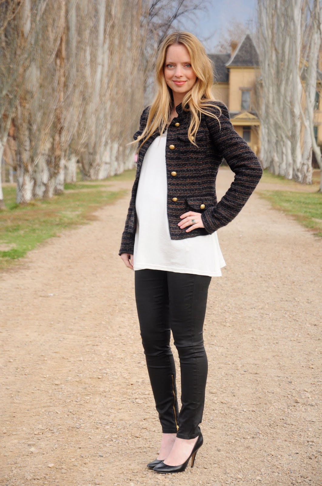 maternity tweed and leather