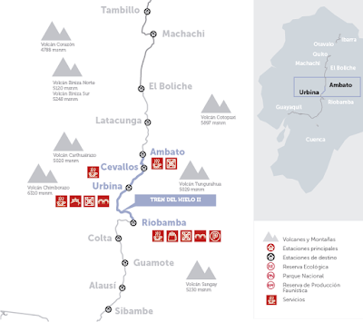 mapa - Turismo en Ecuador – Viaje turístico en Tren – Tour tren del hielo II