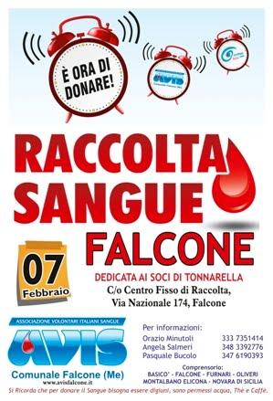RACCOLTA SANGUE A FALCONE IL 7 FEBBRAIO AL CENTRO FISSO IN VIA NAZIONALE, 174