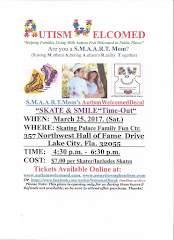 """Autism Welcomed (March. 25) Time-Out """"Skate & Smile!"""" in Lake City, FL"""
