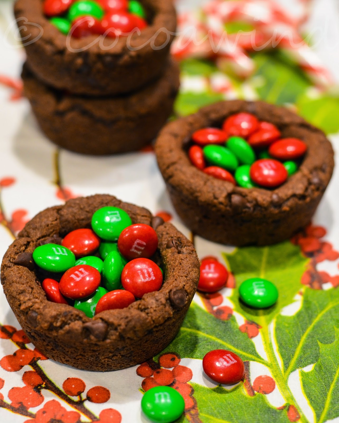Eggless Double Chocolate Chip Cookie Cup with M&Ms