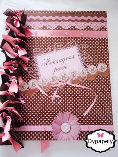 caderno mensagens chá de bebê personalizada bailarina poá rosa e marrom