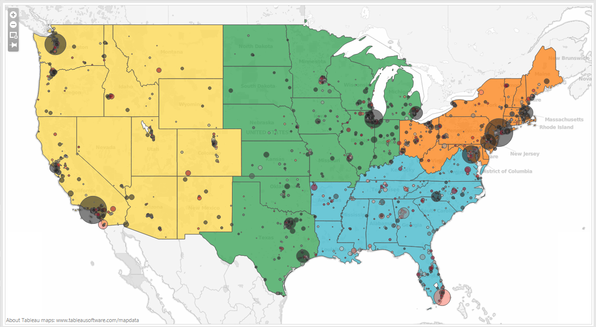 The Vizioneer Day Dual Axis Maps Filled And Points - Map of us for tableau