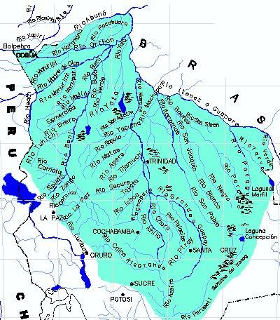 Mapa hidrogr fico de bolivia for Donde queda santa cruz