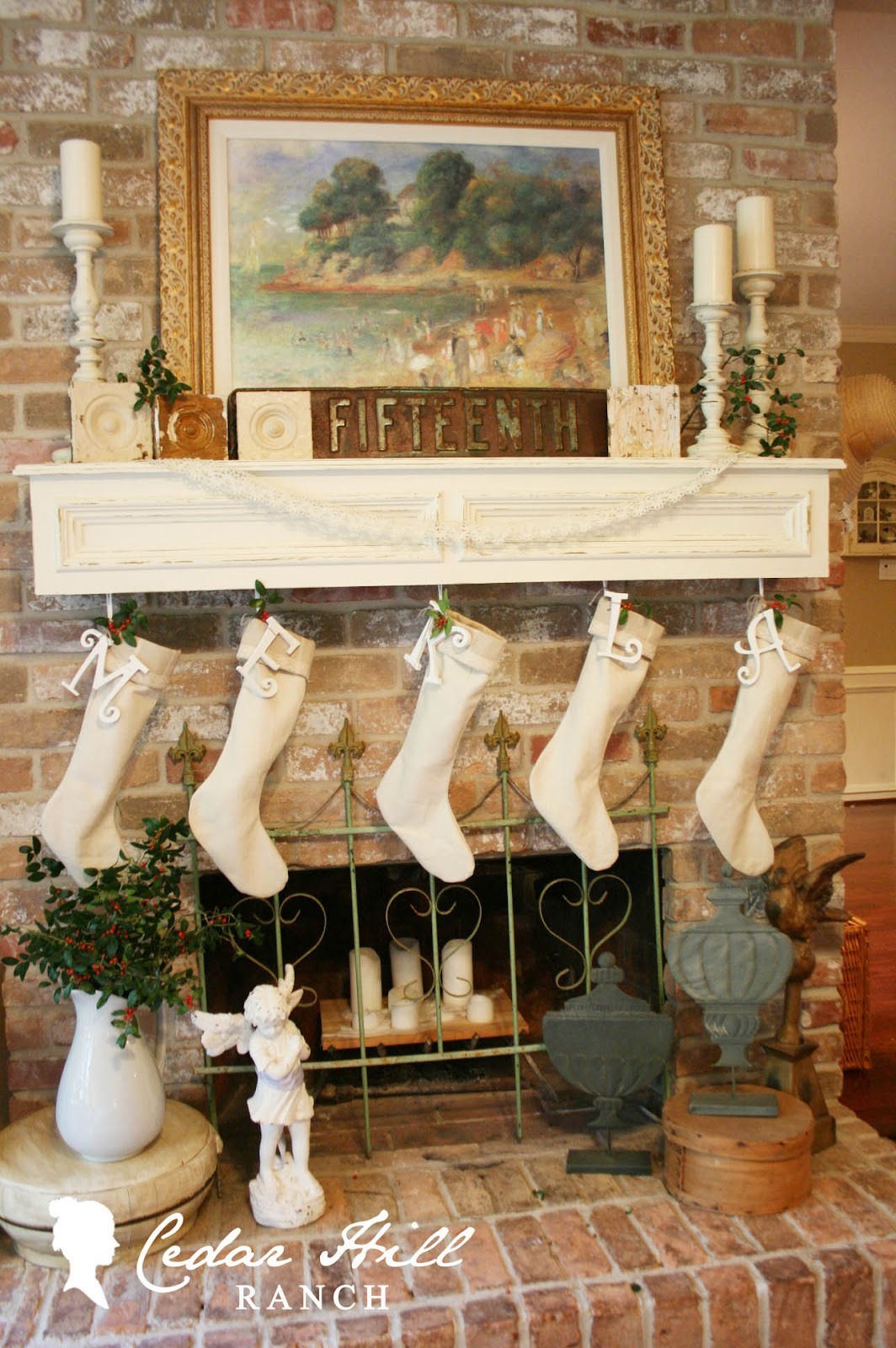 linen christmas stockings cedar hill farmhouse i used a creamy linen for the stocking a striped linen for the cuff a bit of simple lace added an initial so santa would know whose is whose
