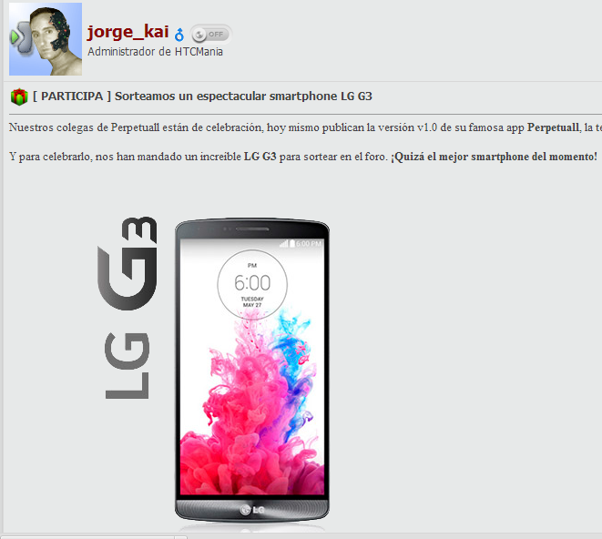 Htcmania sortea un LG G3
