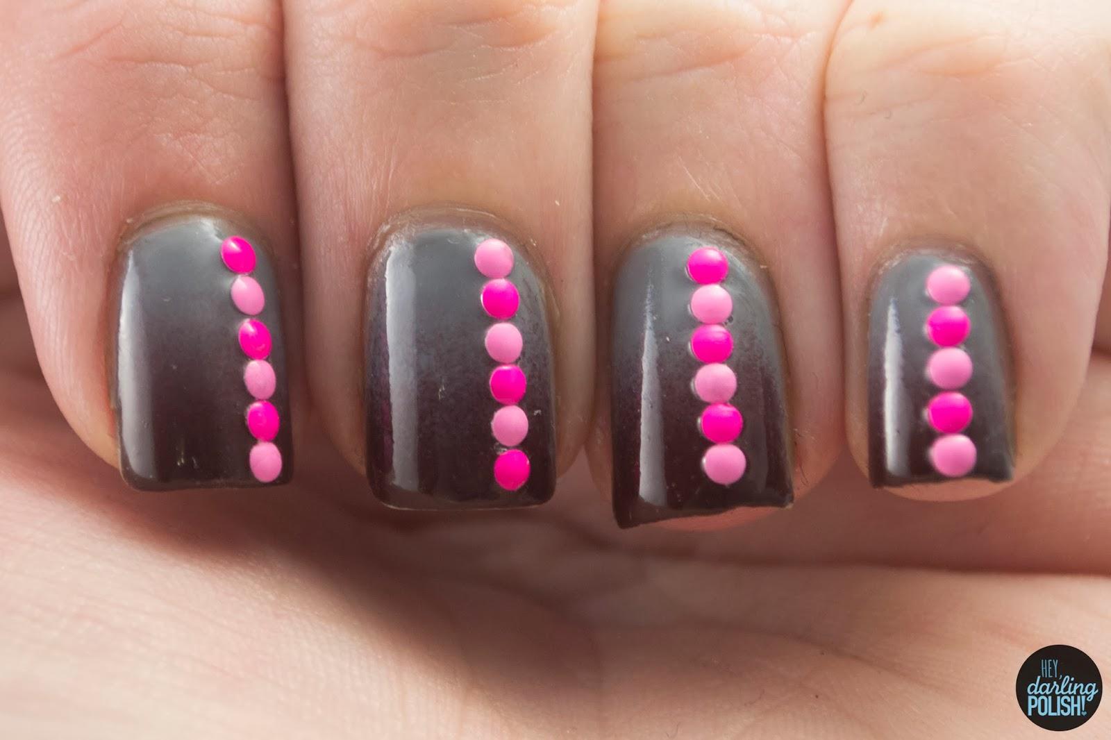nails, nail art, nail polish, polish, gradient, studs, brown, grey, pink, tpc, tri polish challenge, hey darling polish