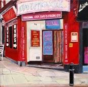 Soho sex shop painting by artist Jane Hall
