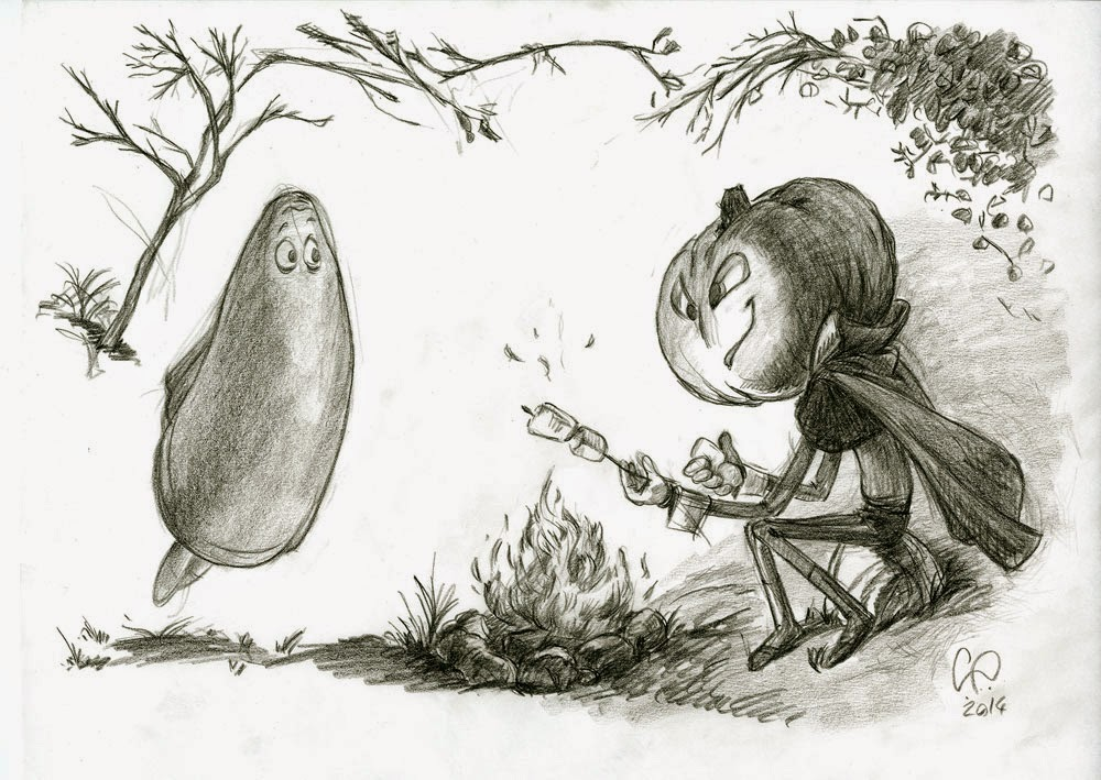 Halloween - Pumpkin Head and Ghost roasting Marshmallows - illustration drawing in pencil by Cesare Asaro - Creative Director at Curio & Co. (Curio and Co. - www.curioanco.com)