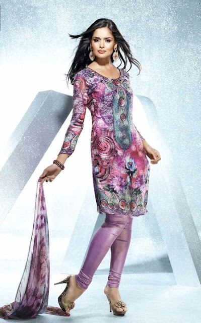 Pink-with-Multicolor-Kurti