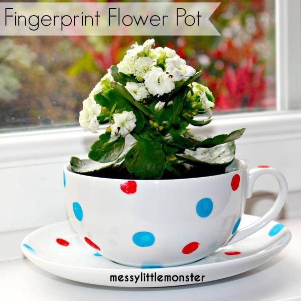 Fingerprint Flower Pot - Messy Little Monster