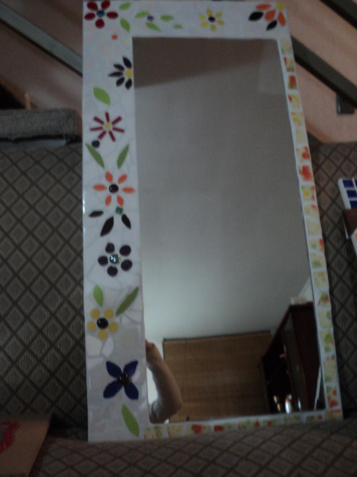 Mosaicos espejos manualidades floral disponible para for Mosaicos para espejos