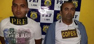 PRF aborda veículo suspeito e duas pessoas são presas na BR 423 em Canapi-AL; Fotos