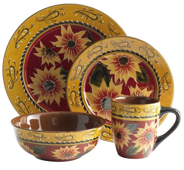 Pier 1 Sunflower Plate Set