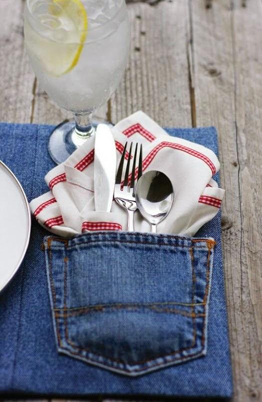 Tischdeko aus Jeans selbermachen!