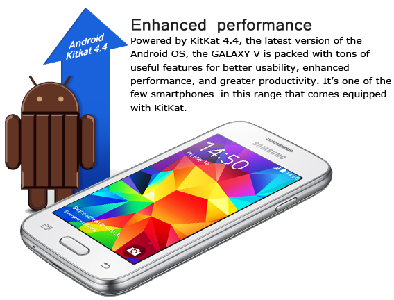 Harga samsung Galaxy V, Ponsel Adnroid Kit-Kat Single Core
