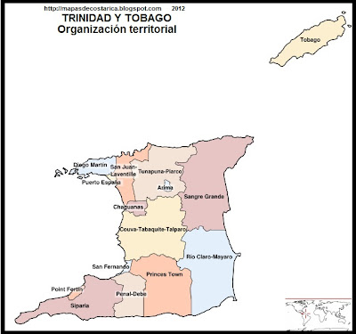TRINIDAD Y TOBAGO, Mapa Poltico de TRINIDAD Y TOBAGO
