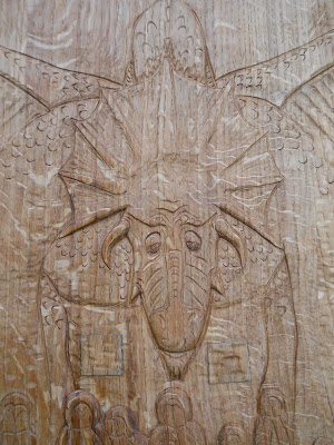 dragon carved in wood