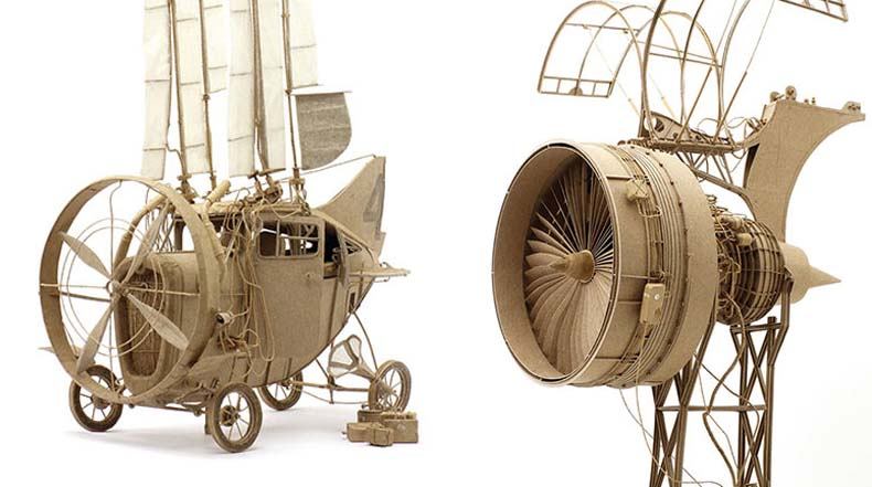 Imaginativas máquinas voladoras industriales hecho de la cartulina por Daniel Agdag