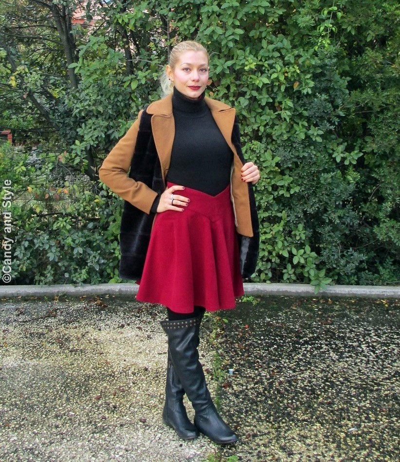 FauxFurVest+CamelJacket+WineRedSkaterSkirt+Overknees+HighPonytail+WineRedLips - Lilli Candy and Style Fashion Blog