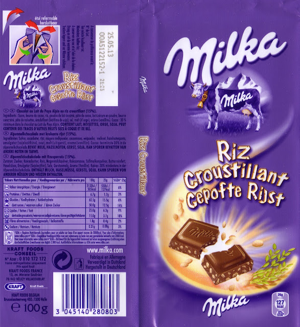 tablette de chocolat lait gourmand milka riz croustillant
