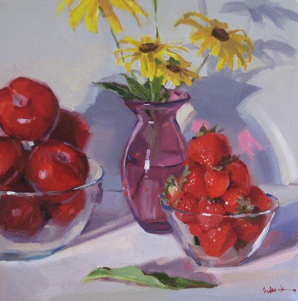 """Sedwick Studio Purple Bowl Of Plums Fruit Bowl Still: Sedwick Studio: """"Fruit Bowls With Black-Eyed-Susans"""" Still"""