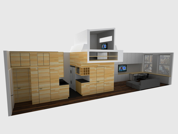 3D illustration showing interiors of the studio apartment