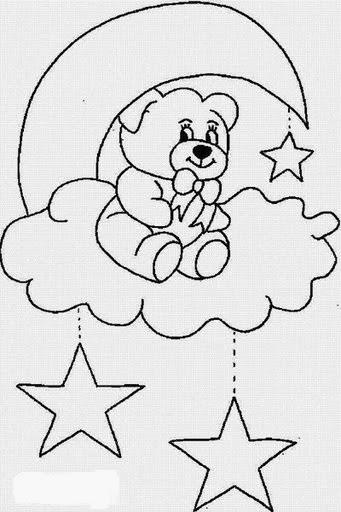 Desenhos de Ursinhos - Com Estrelas e Lua - Desenhos para colorir