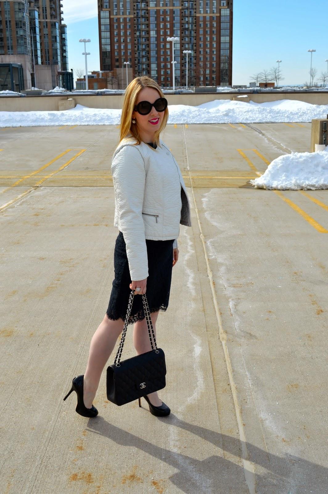 black-lace-dress-white-leather-jacket