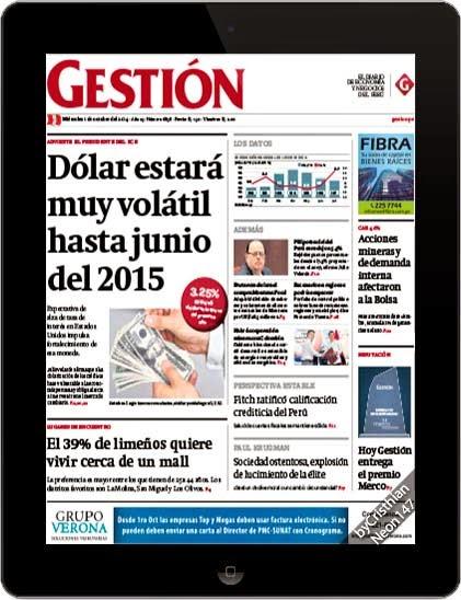 Diario Gestión Perú (01 Octubre 2014) ESPAÑOL - Dólar estará muy volátil hasta junio del 2015