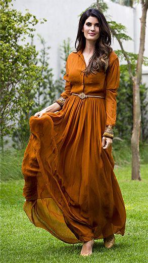 maxivestido ou vestidos compridos em cor de ferrugem