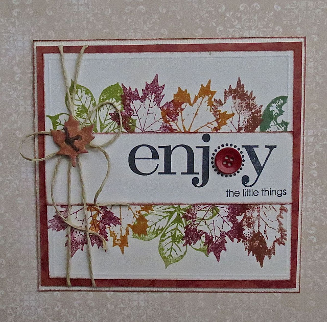 Enjoy the Little Things Card by Megan Gourlay using BoBunny Falling Leaves Stamps and Enchanted Forest