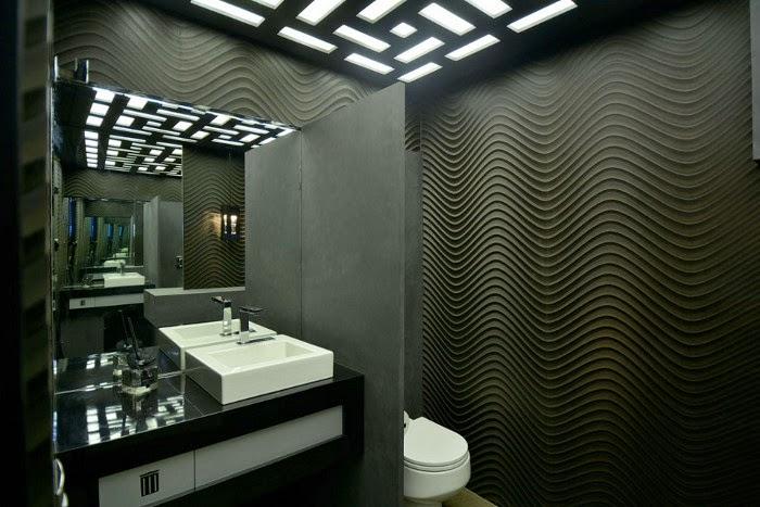 30 Lavabos pequenos e modernos  veja dicas de como ousar e decorar!  DecorS -> Banheiros Modernos Na Cor Preta