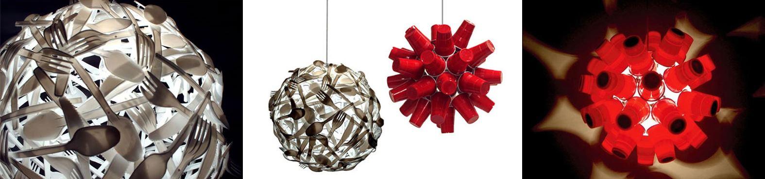 estas pantallas de lampara estan realizadas en base a cubiertos y vasos