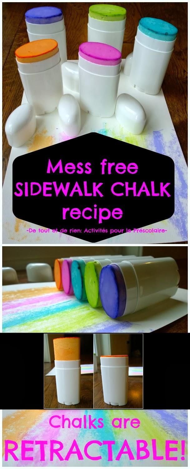 de tout et de rien activités pour le préscolaire mess mess sidewalk chalk recipe recette simple et sans dégât de craies à trottoir