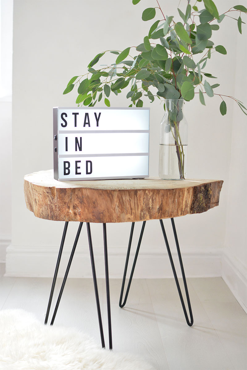 diy tree slice hairpin table burkatron. Black Bedroom Furniture Sets. Home Design Ideas