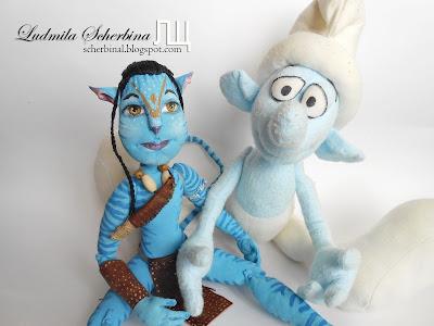 текстильная шарнирная кукла Аватар и смурфик